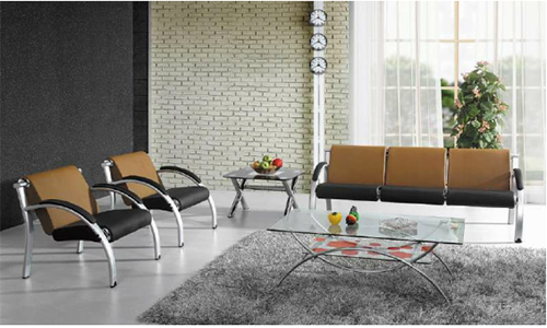 Salon de 3+1+1 places en simili cuir Piètement Aluminium