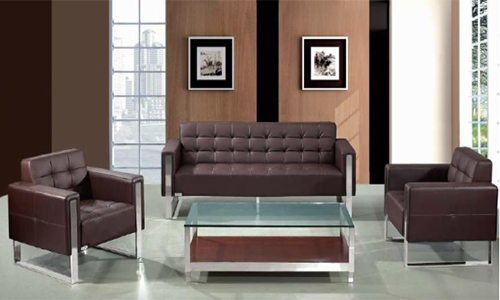 Salon de 3+1+1 places en simili cuir Piètement chromé