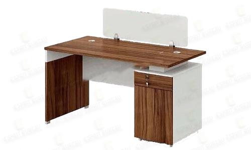 Bureau en bois + caisson fixe