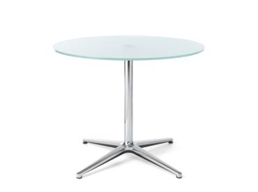 Table basse en verre avec piétement métallique